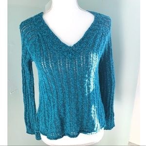 Lucky Brand Teal V Neck Sweater